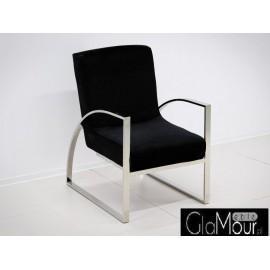 Elegancki fotelik w kolorze czarno-srebrnym 86x65x92cm FC42