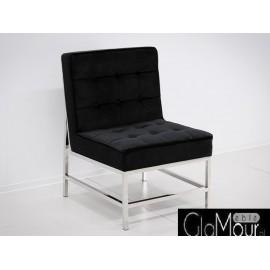 Elegancki fotelik w kolorze czarno-srebrnym 75x68x95cm FC41