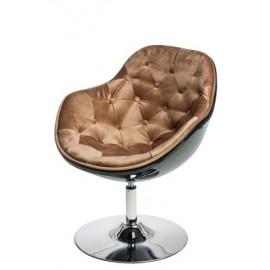 Fotel Pezzo Velvet K- czarny S-brąz 1424