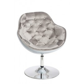 Fotel Pezzo Velvet K-biały S-szare 1408