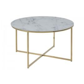 Stolik kawowy Alisma okrągły Gold/Marabl e