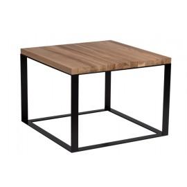 Stolik Square 60x60 czarny płasko. 40 mm blat lakierowany dąb naturalny