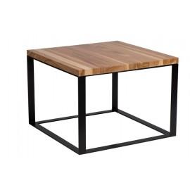 Stolik Square 60x60 czarny płasko. 40 mm blat lakierowany z czereśni naturalny