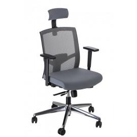 Fotel biurowy Ergo szary/szary z zagłówk iem