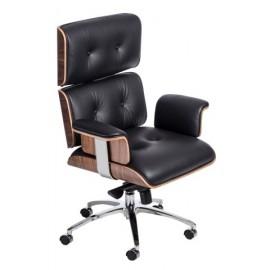Fotel biurowy VIP czarna skóraorzechowy fornir chrom