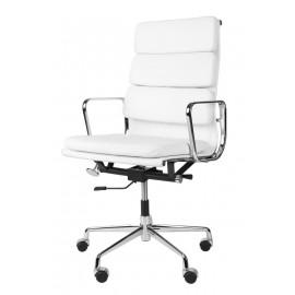 Fotel biurowy CH2191T biała skóra chrom outlet