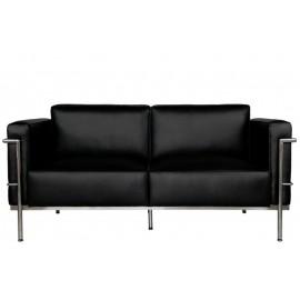 Sofa 2-osobowa Soft GC czarna skóra outlet