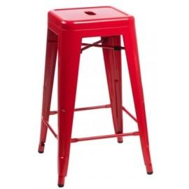 Stołek barowy Paris 66cm czerwony inspirowany Tolix outlet