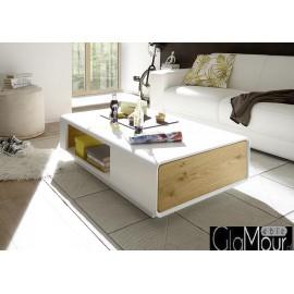 Elegancki stolik kawowy CORIN z szufladą i wnęką