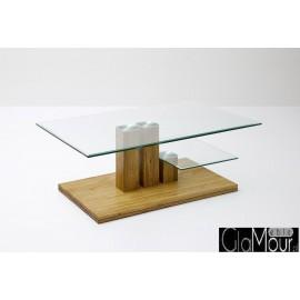 Elegancki stolik kawowy PACO z blatem szklanym