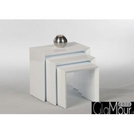 Zestaw trzy stoliki kawowe TREVISO w kolorze białym