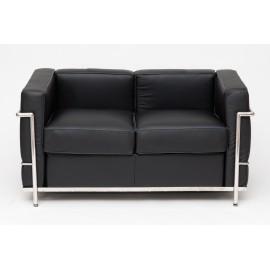 Sofa 2-osobowa Kubik czarna skóra TP out let