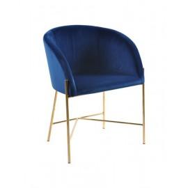 Fotel Nelson niebieski/złota podstawa