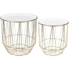 Zestaw stolików Glamour złoty/biały