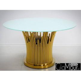 Elegancki stół w kolorze złoto białym 130x76cm TH521