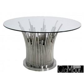 Stół w kolorze srebrnym 130x76 TH521
