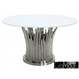 Stół w kolorze srebrno białym 130x76cm TH521