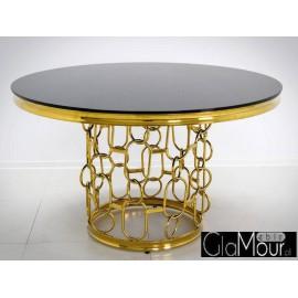 Stół złoto czarny 130x80 cm TH522