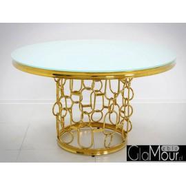 Stół złoto biały 130x80 cm TH522