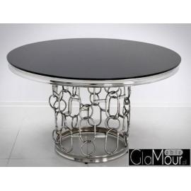 Stół okrągły srebrno czarny 130x80 cm TH522