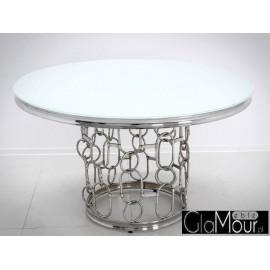 Stół okrągły srebrno biały 130x80 cm TH522