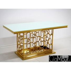 Stół złoto biały 150x90x80cm TH522