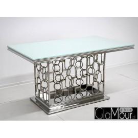 Stół srebrno biały 150x90x80cm TH522