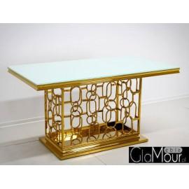 Stół złoto biały 200x100x80cm TH522-1