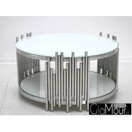 Stolik kawowy srebrno biały 85x44cm C416