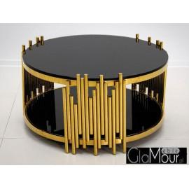 Stolik kawowy złoto czarny 85x44cm C416
