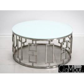 Stolik kawowy srebrno biały 90x42 cm C415