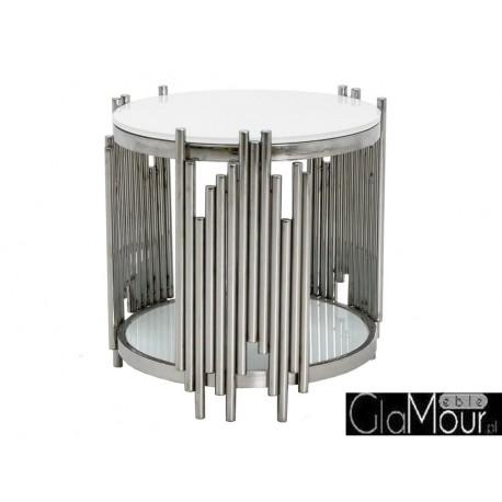 Stolik kawowy srebrno biały 60x53cm C416