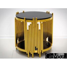 Stolik kawowy złoto czarny 60x53cm C416