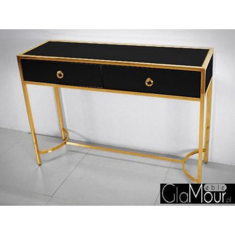 Toaletka szklana złoto czarna 110x35x82cm LW6071