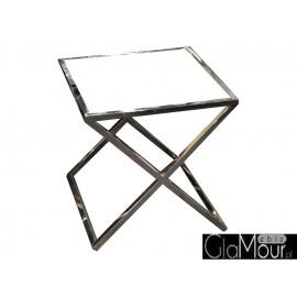 Stolik biało srebrny 50x50x50cm JJ-1020