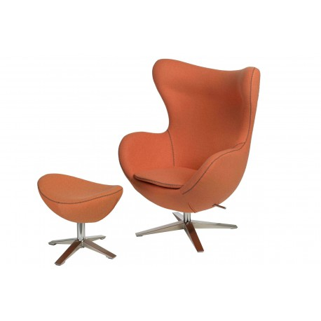 Fotel Jajo Soft z podnóżkiem wełna z przeszyciem pomarańczowy JA-2717