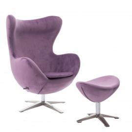 Fotel Jajo Velvet fioletowy z podnóżkiem