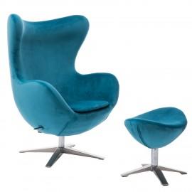 Fotel Jajo Velvet niebieski z podnóżkiem