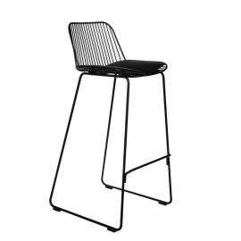 Krzesło barowe Dill High czarne z czarną poduszką