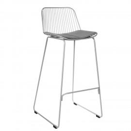 Krzesło barowe Dill High szare z szarą poduszką