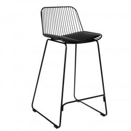 Krzesło barowe Dill Low czarne z czarną poduszką