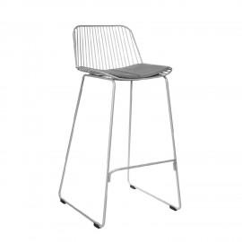 Krzesło barowe Dill Low szare z szarą poduszką