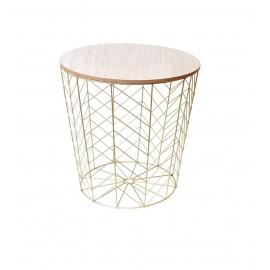 Stolik Fil Wire okrągły złoty