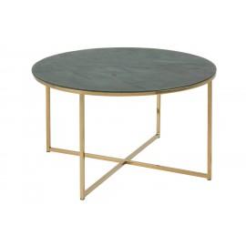 Stolik kawowy Alisma okrągły Gold/Marabl e Green