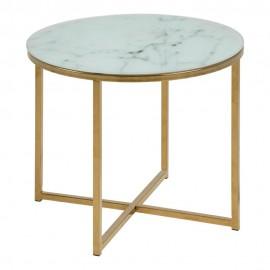 Stolik Alisma okrągły 50 Biały /złoty