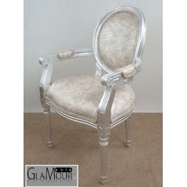 Fotel srebrny z podłokietnikami Glamoure