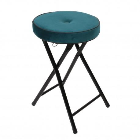 Składany stołek Margot Velvet morski