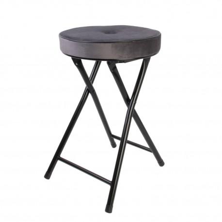 Składany stołek Margot Velvet szary