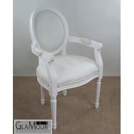 Fotel biały z podłokietnikami GLAMOUR