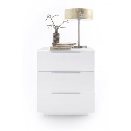 Szafka nocna NOLA 6 w kolorze białym blat szklany